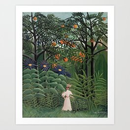 Woman Walking in an Exotic Forest Art Print