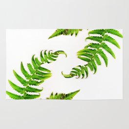 Fern on white - double Rug