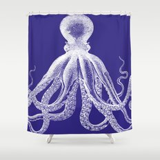 Octopus   Navy Blue and White Shower Curtain