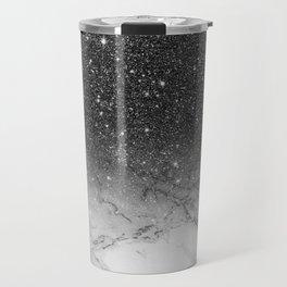 Stylish faux black glitter ombre white marble pattern Travel Mug