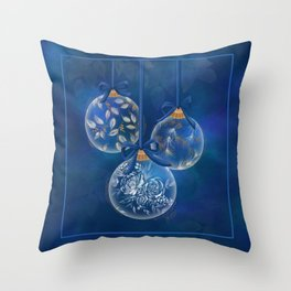 Frosted Ornaments- Winter Blue Throw Pillow