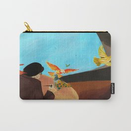 Old man painting pigeons children's book illustration Carry-All Pouch