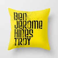 steelers Throw Pillows featuring Ben Jerome Hines Troy / Gold by Brian Walker