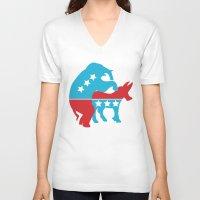 politics V-neck T-shirts featuring Politics by Mike Stark