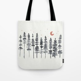 Nighttime Watercolor Forest Tote Bag