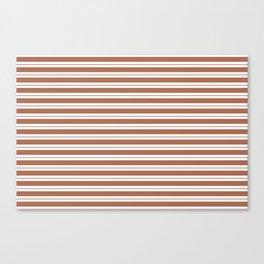 Sherwin Williams Canyon Clay Horizontal Line Pattern on White 1 Canvas Print