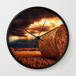 bales of hay in warm tones HDR Wall Clock