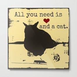 cat art - 2nd in series of 6, cat lover, black cat, love cats Metal Print