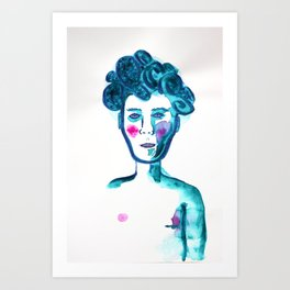 Curly Hair Boy Art Print