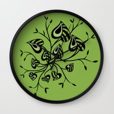 Abstract Floral With Pointy Leaves In Black And Greenery Wall Clock