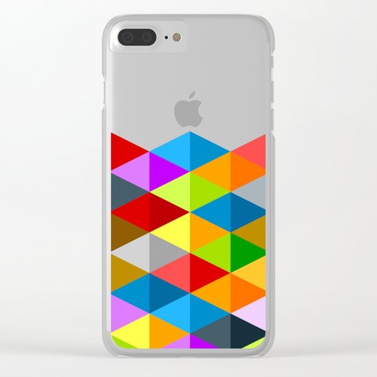 Modern bright funky colorful triangles pattern Clear iPhone Case
