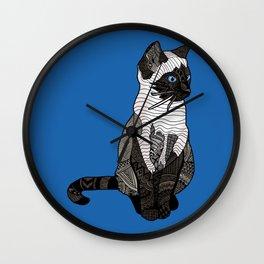 Siamese Cat Zentangle in Blue Wall Clock