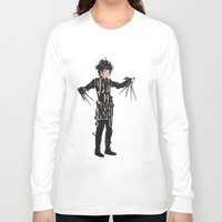 johnny depp Long Sleeve T-shirts featuring Edward Scissorhands - Johnny Depp by Ayse Deniz