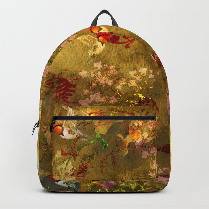 Golden Hummingbirds Pattern Backpack