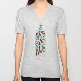 Hemingway quote on Wine and Good Company, fun inspiration & motivation, handwritten typography Unisex V-Neck