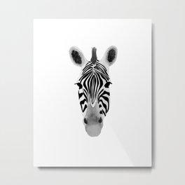 Watercolor and Ink Zebra Metal Print