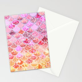 Rosegold & Gold Trendy Glitter Mermaid Scales Stationery Cards