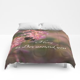 Nature bee on pink flowers Comforters