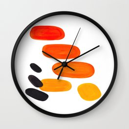 Mid Century Modern Colorful Minimal Pop Art Yellow Orange Ombre Rainbow Gradient Pebble Ovals Wall Clock
