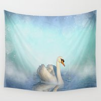 swan Wall Tapestries featuring Swan by haroulita