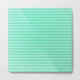TINY STRIPE ((emerald green)) Metal Print