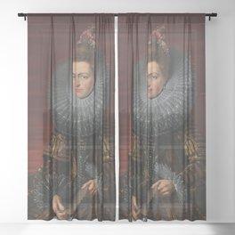 Tudor Lady in large Ruff collar Sheer Curtain