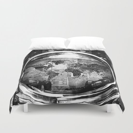 astronaut world map black and white 2 Duvet Cover