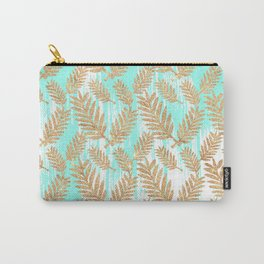 Tropical faux gold glitter plant teal watercolor brushstrokes Carry-All Pouch