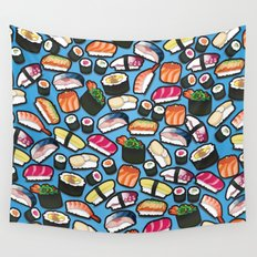 Sushi Blue Wall Tapestry