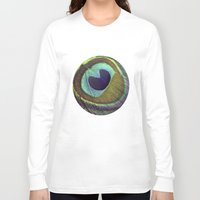 peacock feather Long Sleeve T-shirts featuring peacock feather by AnnaGo
