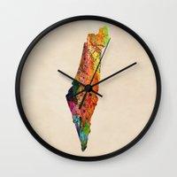 israel Wall Clocks featuring israel by mark ashkenazi