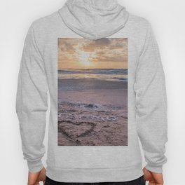 Love note Te Amo with the heart drawing on the beach at sunrise Hoody