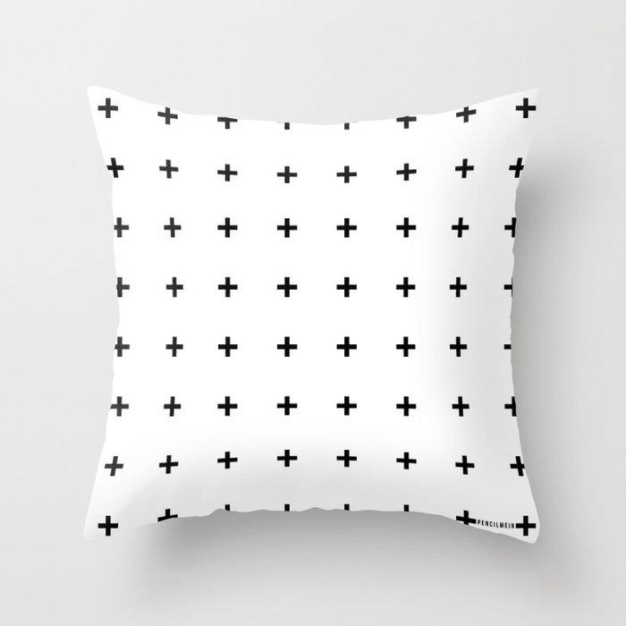 Black Plus on White /// www.pencilmeinstationery.com Throw Pillow