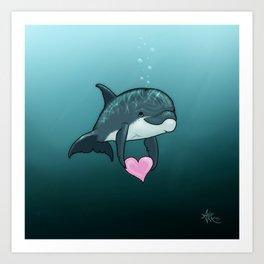 """Love Ya"" by Amber Marine ~ Toon Baby Dolphin Art, (Copyright 2014) Art Print"