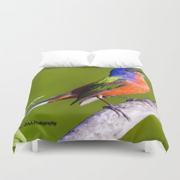 Male Painted Bunting Defending his Territory Duvet Cover