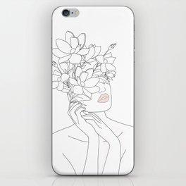 Minimal Line Art Woman with Magnolia iPhone Skin