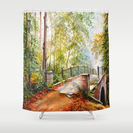 Bridge in the autumn park Shower Curtain