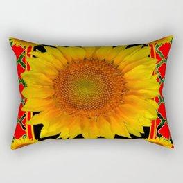 RED-TEAL BLACK  DECO YELLOW SUNFLOWERS Rectangular Pillow