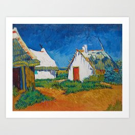 Three white cottages in Saintes-Maries by Vincent van Gogh Art Print