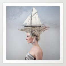 Sailing - White Art Print