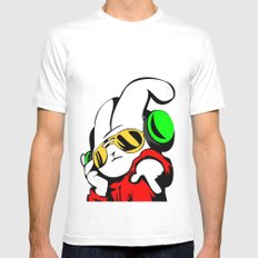 Dj Bunny White MEDIUM Mens Fitted Tee