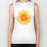 sunflowers Biker Tanks featuring Sunflowers by Sara Eshak