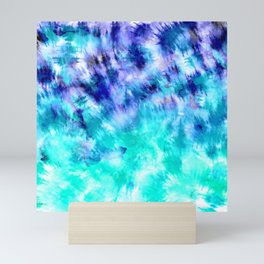 modern boho blue turquoise watercolor mermaid tie dye pattern Mini Art Print