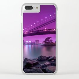 Rocky Shore Sight Of Urbanscape And Bridge Violet Hue High Resolution Clear iPhone Case