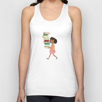 library Tank Tops featuring Library Girl 4 by Stephanie Fizer Coleman
