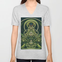 Time Shell IV. Green Abstract Geometry Unisex V-Neck