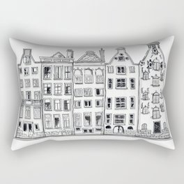 Amsterdam Canal Houses Sketch Rectangular Pillow