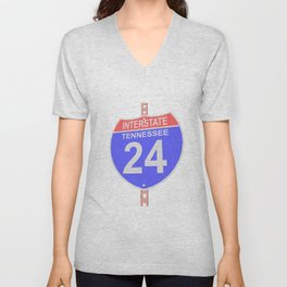 Interstate highway 24 road sign in Tennessee Unisex V-Neck