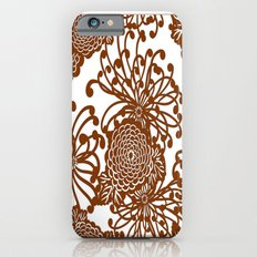 Coffee Brown & White  Lacey Vintage Floral Art  iPhone 6s Slim Case