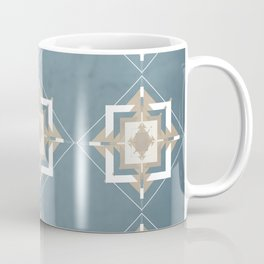 Teal and Taupe Mosaic Pattern Coffee Mug
